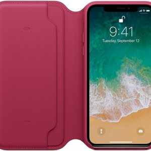 Apple Lederen Folio Case voor iPhone X - Berry