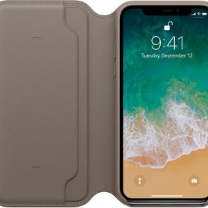 Apple Lederen Folio Case voor iPhone X - Taupe